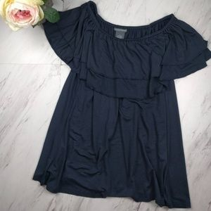 Chelsea & Theodore Black Ruffle Tiered Top SZ L